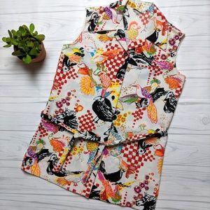Vintage Lanie J. Button Down Neon Bird Mod Dress